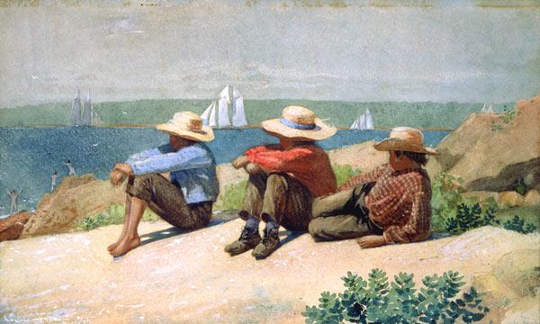 Boys on the sea beach. - Winslow Homer as art print or ...