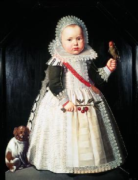 Portrait of a young boy holding a parrot