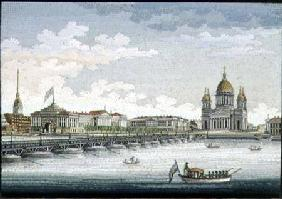 View from the River Neva over St. Isaac's Square and St. Isaac's Bridge
